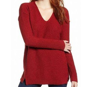 Caslon Plus Red Long Sleeve V-Neck Sweater XXL